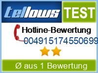 tellows Bewertung 004915174550699