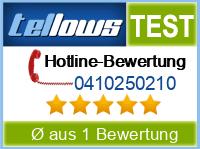 tellows Bewertung 0410250210