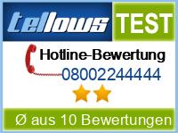 tellows Bewertung 08002244444