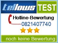 tellows Bewertung 0821407740